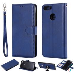 Retro Greek Detachable Magnetic PU Leather Wallet Phone Case for Huawei P Smart(Enjoy 7S) - Blue