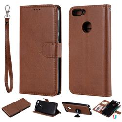 Retro Greek Detachable Magnetic PU Leather Wallet Phone Case for Huawei P Smart(Enjoy 7S) - Brown