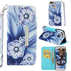 Button Flower Big Metal Buckle PU Leather Wallet Phone Case for Huawei P Smart(Enjoy 7S)