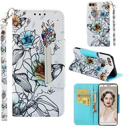 Fotus Flower Big Metal Buckle PU Leather Wallet Phone Case for Huawei P Smart(Enjoy 7S)