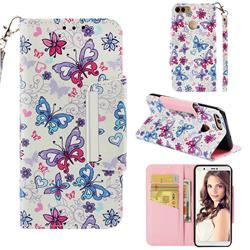 Colored Butterfly Big Metal Buckle PU Leather Wallet Phone Case for Huawei P Smart(Enjoy 7S)