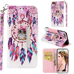 Owl Wind Chimes Big Metal Buckle PU Leather Wallet Phone Case for Huawei P Smart(Enjoy 7S)