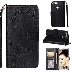 Embossing Fireworks Elephant Leather Wallet Case for Huawei P Smart(Enjoy 7S) - Black