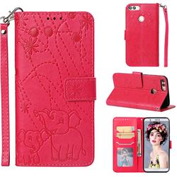 Embossing Fireworks Elephant Leather Wallet Case for Huawei P Smart(Enjoy 7S) - Red