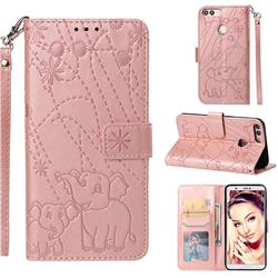 Embossing Fireworks Elephant Leather Wallet Case for Huawei P Smart(Enjoy 7S) - Rose Gold