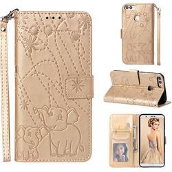 Embossing Fireworks Elephant Leather Wallet Case for Huawei P Smart(Enjoy 7S) - Golden