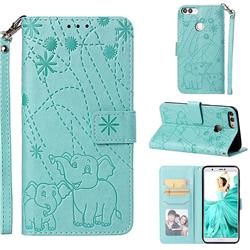 Embossing Fireworks Elephant Leather Wallet Case for Huawei P Smart(Enjoy 7S) - Green