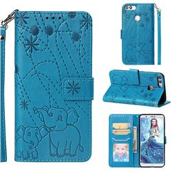 Embossing Fireworks Elephant Leather Wallet Case for Huawei P Smart(Enjoy 7S) - Blue