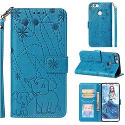 Embossing Fireworks Elephant Leather Wallet Case for Huawei P Smart(Enjoy 7S) - Blue