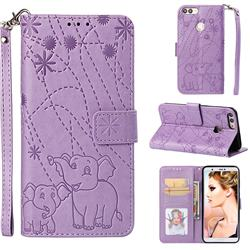 Embossing Fireworks Elephant Leather Wallet Case for Huawei P Smart(Enjoy 7S) - Purple