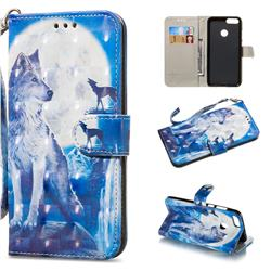 Ice Wolf 3D Painted Leather Wallet Phone Case for Huawei P Smart(Enjoy 7S)