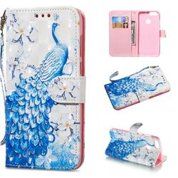 Blue Peacock 3D Painted Leather Wallet Phone Case for Huawei P Smart(Enjoy 7S)