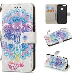 Colorful Elephant 3D Painted Leather Wallet Phone Case for Huawei P Smart(Enjoy 7S)