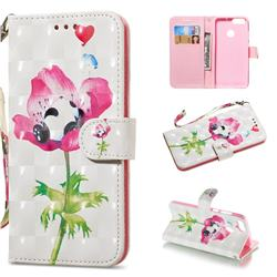Flower Panda 3D Painted Leather Wallet Phone Case for Huawei P Smart(Enjoy 7S)