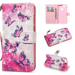 Pink Butterfly 3D Painted Leather Wallet Phone Case for Huawei P Smart(Enjoy 7S)