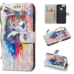 Watercolor Owl 3D Painted Leather Wallet Phone Case for Huawei P Smart(Enjoy 7S)