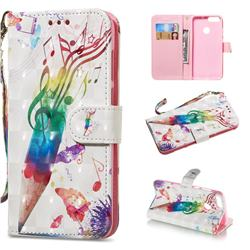 Music Pen 3D Painted Leather Wallet Phone Case for Huawei P Smart(Enjoy 7S)