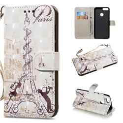 Tower Couple 3D Painted Leather Wallet Phone Case for Huawei P Smart(Enjoy 7S)
