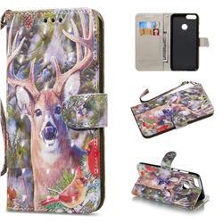 Elk Deer 3D Painted Leather Wallet Phone Case for Huawei P Smart(Enjoy 7S)