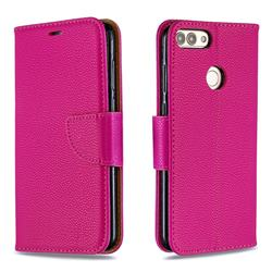 Classic Luxury Litchi Leather Phone Wallet Case for Huawei P Smart(Enjoy 7S) - Rose