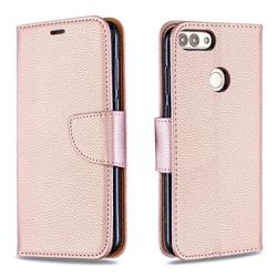 Classic Luxury Litchi Leather Phone Wallet Case for Huawei P Smart(Enjoy 7S) - Golden