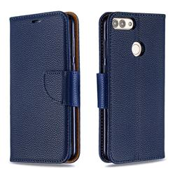 Classic Luxury Litchi Leather Phone Wallet Case for Huawei P Smart(Enjoy 7S) - Blue