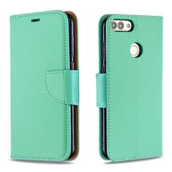 Classic Luxury Litchi Leather Phone Wallet Case for Huawei P Smart(Enjoy 7S) - Green