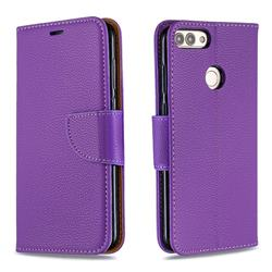 Classic Luxury Litchi Leather Phone Wallet Case for Huawei P Smart(Enjoy 7S) - Purple