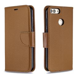 Classic Luxury Litchi Leather Phone Wallet Case for Huawei P Smart(Enjoy 7S) - Brown