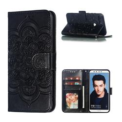 Intricate Embossing Datura Solar Leather Wallet Case for Huawei P Smart(Enjoy 7S) - Black