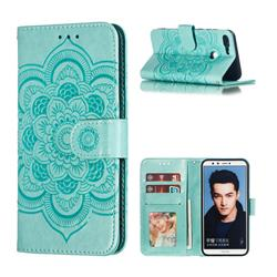 Intricate Embossing Datura Solar Leather Wallet Case for Huawei P Smart(Enjoy 7S) - Green