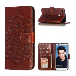 Intricate Embossing Datura Solar Leather Wallet Case for Huawei P Smart(Enjoy 7S) - Brown