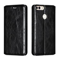 Retro Slim Magnetic Crazy Horse PU Leather Wallet Case for Huawei P Smart(Enjoy 7S) - Black