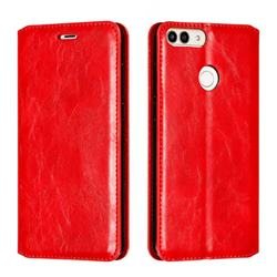 Retro Slim Magnetic Crazy Horse PU Leather Wallet Case for Huawei P Smart(Enjoy 7S) - Red
