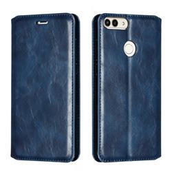 Retro Slim Magnetic Crazy Horse PU Leather Wallet Case for Huawei P Smart(Enjoy 7S) - Blue