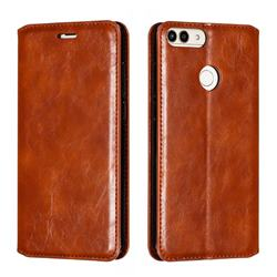 Retro Slim Magnetic Crazy Horse PU Leather Wallet Case for Huawei P Smart(Enjoy 7S) - Brown