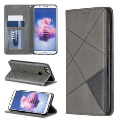 Prismatic Slim Magnetic Sucking Stitching Wallet Flip Cover for Huawei P Smart(Enjoy 7S) - Gray