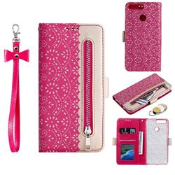 Luxury Lace Zipper Stitching Leather Phone Wallet Case for Huawei P Smart(Enjoy 7S) - Rose