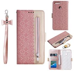 Luxury Lace Zipper Stitching Leather Phone Wallet Case for Huawei P Smart(Enjoy 7S) - Pink