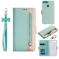 Luxury Lace Zipper Stitching Leather Phone Wallet Case for Huawei P Smart(Enjoy 7S) - Green