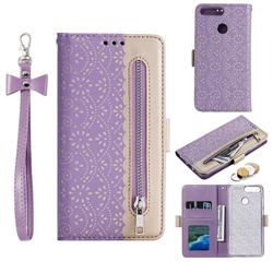 Luxury Lace Zipper Stitching Leather Phone Wallet Case for Huawei P Smart(Enjoy 7S) - Purple