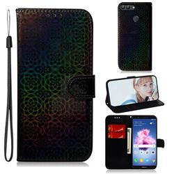 Laser Circle Shining Leather Wallet Phone Case for Huawei P Smart(Enjoy 7S) - Black
