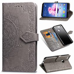 Embossing Imprint Mandala Flower Leather Wallet Case for Huawei P Smart(Enjoy 7S) - Gray