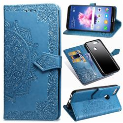 Embossing Imprint Mandala Flower Leather Wallet Case for Huawei P Smart(Enjoy 7S) - Blue