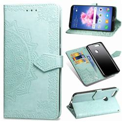 Embossing Imprint Mandala Flower Leather Wallet Case for Huawei P Smart(Enjoy 7S) - Green