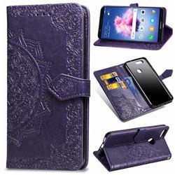 Embossing Imprint Mandala Flower Leather Wallet Case for Huawei P Smart(Enjoy 7S) - Purple