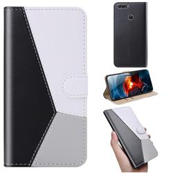 Tricolour Stitching Wallet Flip Cover for Huawei P Smart(Enjoy 7S) - Black