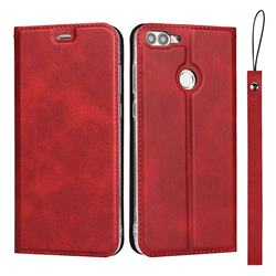 Calf Pattern Magnetic Automatic Suction Leather Wallet Case for Huawei P Smart(Enjoy 7S) - Red