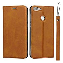 Calf Pattern Magnetic Automatic Suction Leather Wallet Case for Huawei P Smart(Enjoy 7S) - Brown
