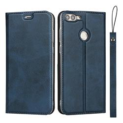 Calf Pattern Magnetic Automatic Suction Leather Wallet Case for Huawei P Smart(Enjoy 7S) - Blue